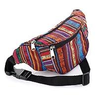 Bum Bag fanny Pack Festival Money Waist Pouch Travel Canvas Belt Grunge Neon (Multi colour tribal print)