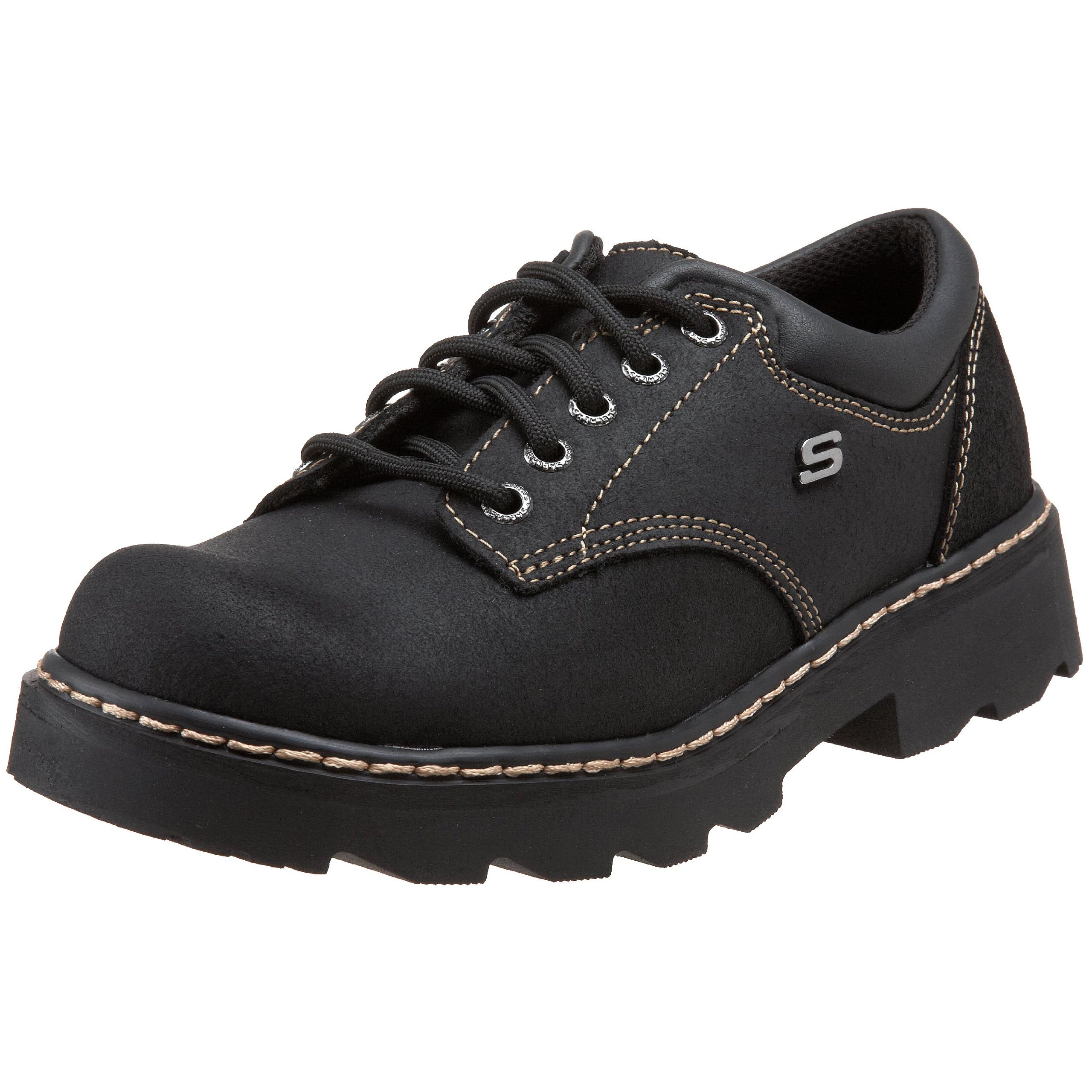 Skechers Women's Parties-Mate Oxford,Black Suede Leather,6 M US