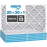 """Aerostar Home Max 20x30x1 MERV 13 Pleated Air Filter, Made in the USA, Captures Virus Particles, (Actual Size: 19 3/4"""" x…"""