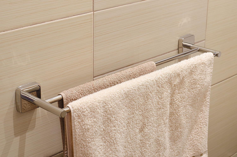 Garantie 20 ANS Kapitan Quattro 50 cm Porte-serviette Deux Mural Auto-adh/ésif Salle de bain Acier Inoxydable fini poli fabriqu/é dans lUE