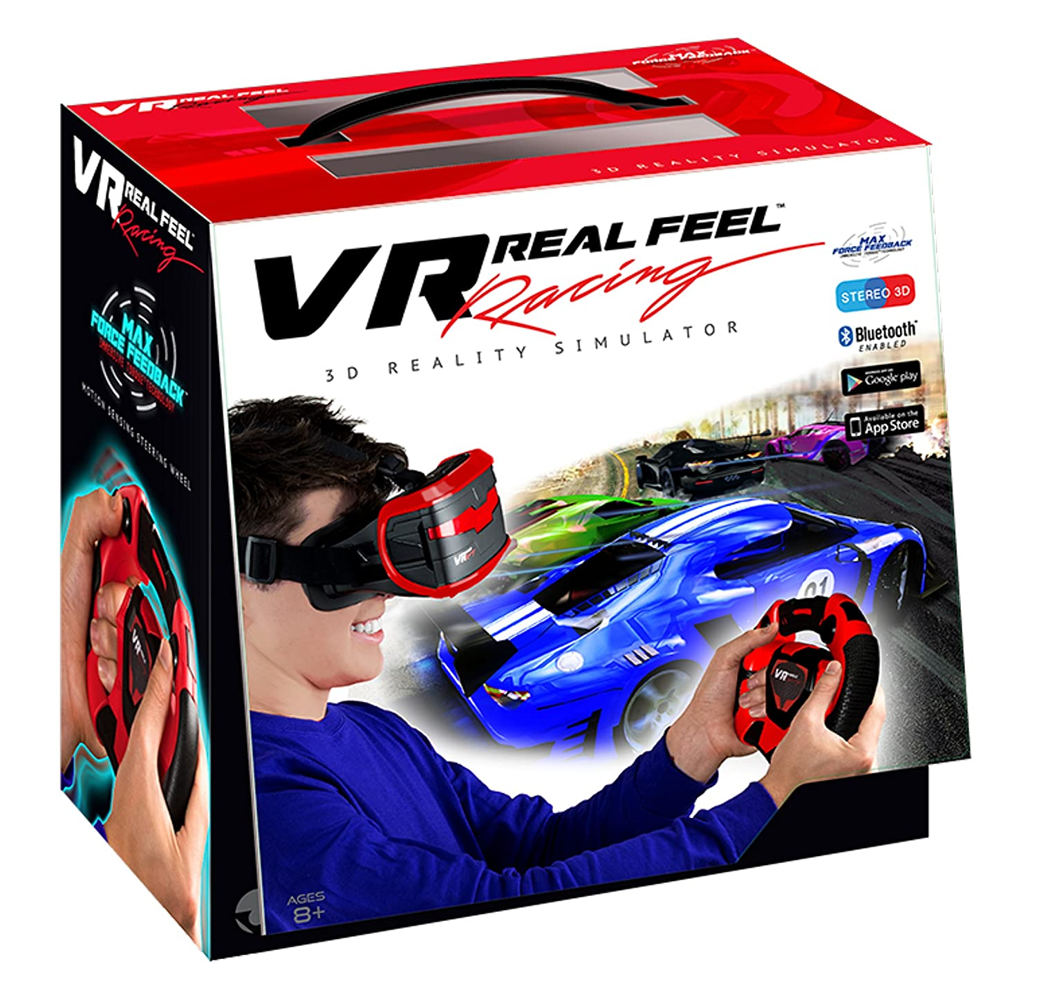 20d58ac7a62d Amazon.com  VR Real Feel Virtual Reality Car Racing Gaming System with  Bluetooth Steering Wheel and Headset Goggles Viewer Glasses for iOS iPhone  and ...