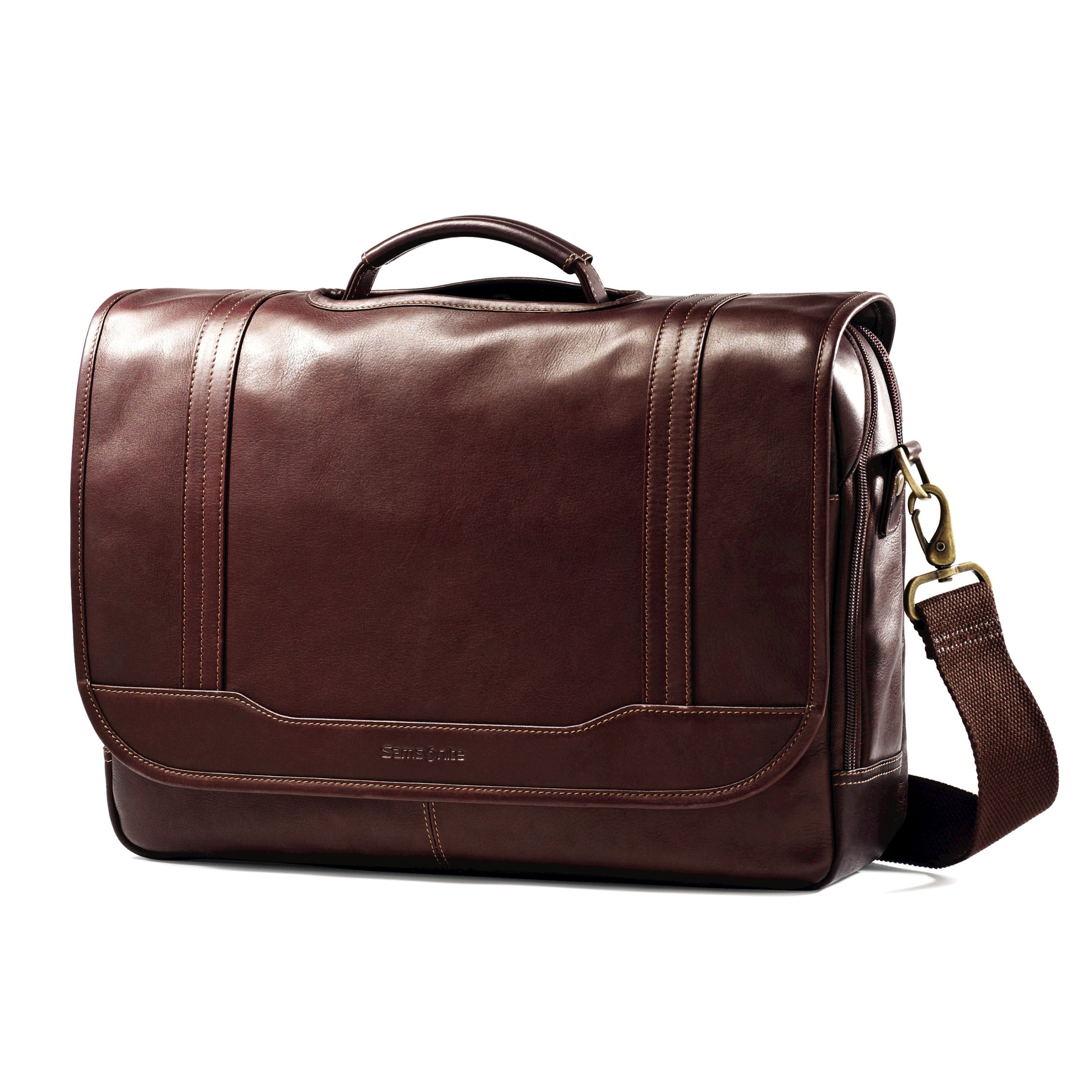 Samsonite Colombian Leather Flapover Briefcase, Brown, One Size by Samsonite