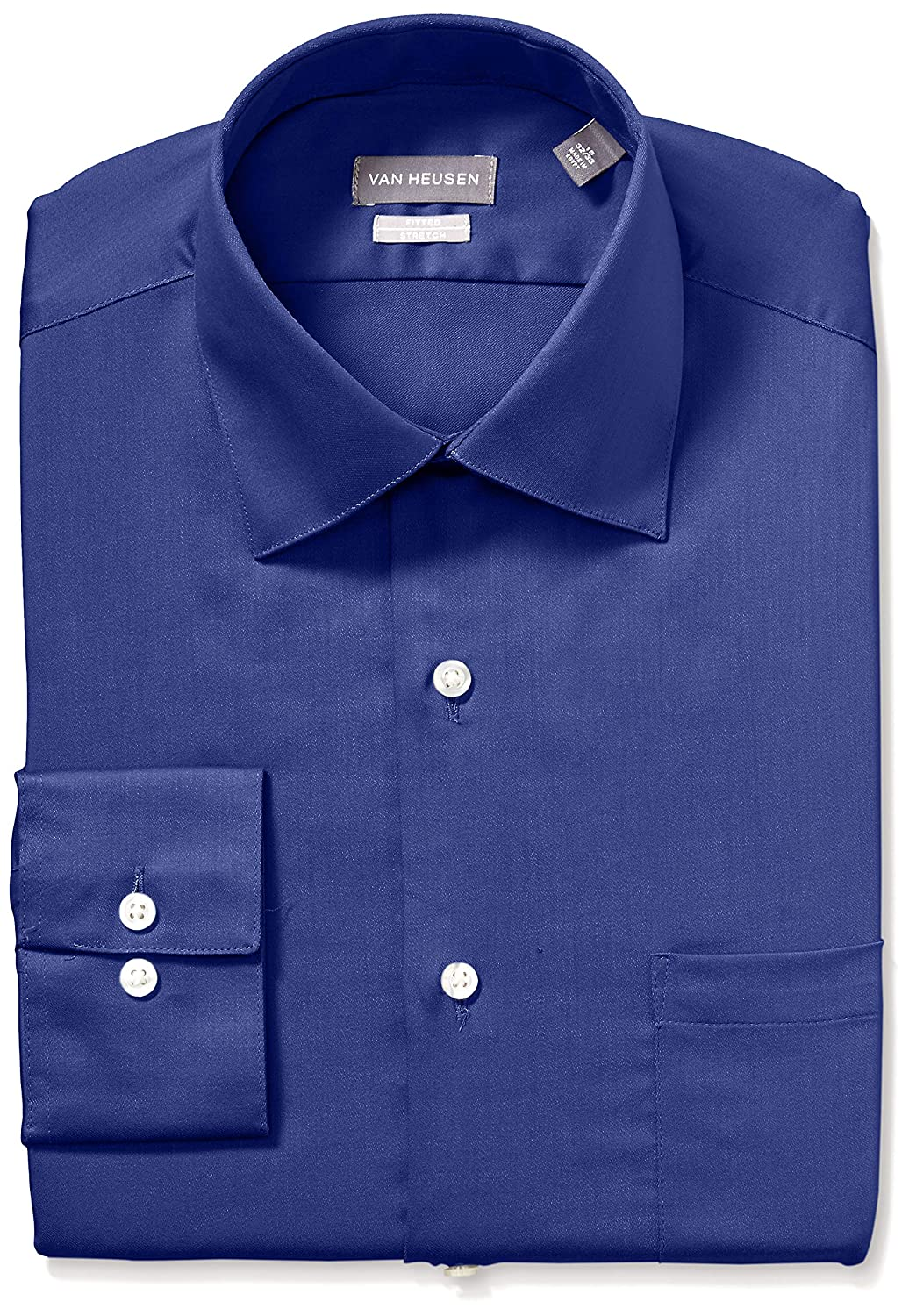 Van Heusen Mens Dress Shirts Fitted Lux Sateen Stretch Solid Spread