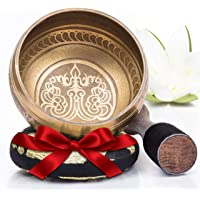Silent Mind ~ Tibetan Singing Bowl Set ~ Bronze Mantra Design ~ With Dual Surface Mallet and Silk Cushion ~ Promotes…