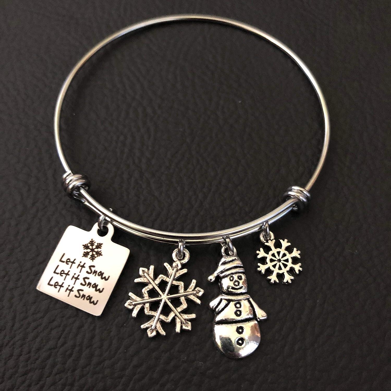 14k Gold Plated Silver Charm Bracelet \u2022 Silver Snowman Bracelet \u2022 Christmas Gift \u2022Gift For Her \u2022 Silver Winter Bracelet