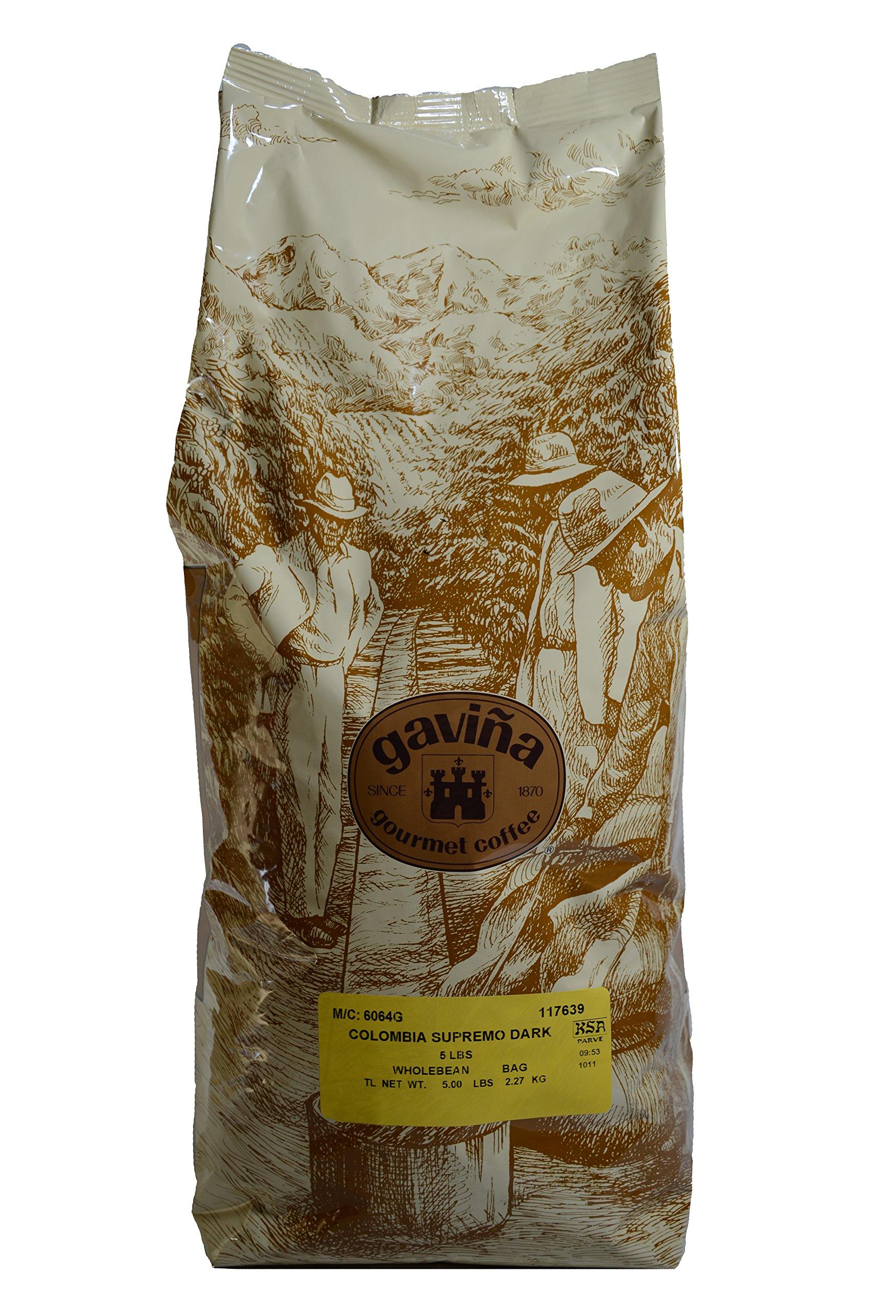 Gavina Colombian Supreme Dark Wholebean Coffee 1 (5) lb Bag #428