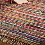 Indian Arts Fair Trade Rag Rug Hand Loom 100% Recycled Materials Multicolour (50 x 80cm)