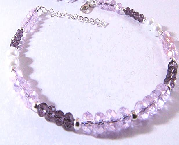 1c57b258b5119 Amazon.com: Pink and Purple Rondelle Crystal and Czech Glass Pearl ...