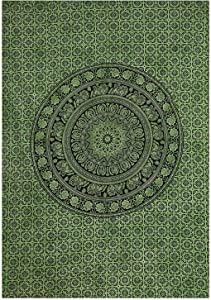 Marubhumi Indian Tapestry Wall hangings Green Dye Hippie Mandala Tapestry Wall Art Collage Dorm Beach Throw Bohemian Tapestry Wall Decor Boho Bedspread, Twin (85x55 inch, Green Dye)