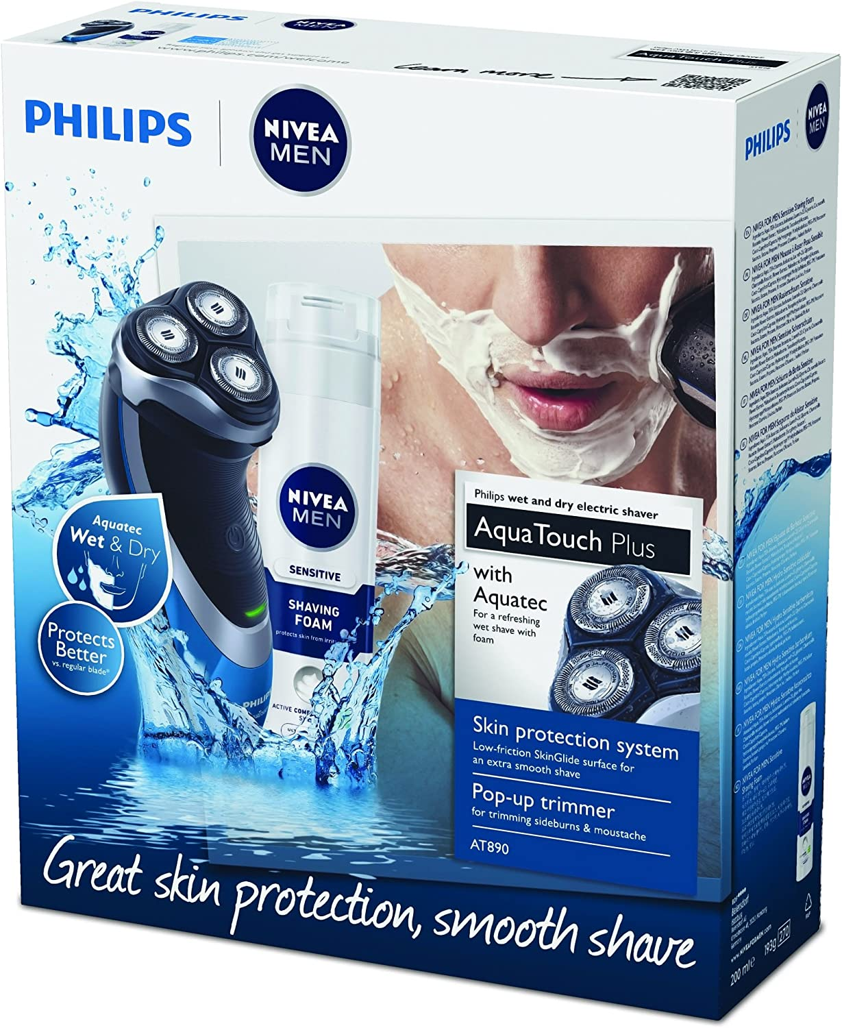 Philips AT890/26 - Afeitadora sin cable AquaTouch para uso en seco ...