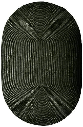 Boca Raton Polypropylene Braided Rug, 4-Feet by 6-Feet, Dark Green