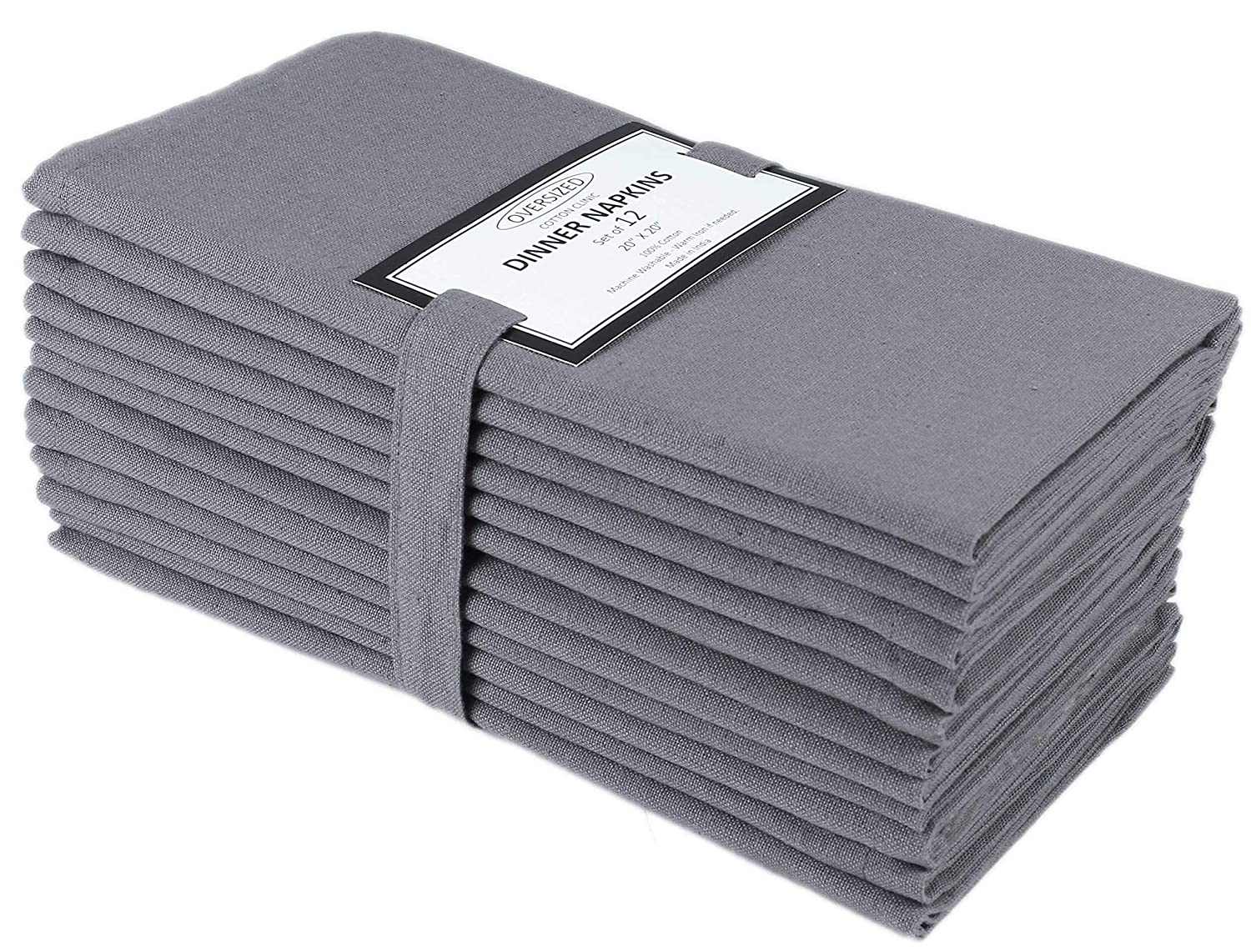 Cloth Napkin in Solid Cotton Fabric- Charcoal Color, Oversized 20x20, Wedding Napkins,Cocktails Napkins,Tailored with Mitered Corners & Generous Hem, Machine Washable Dinner Napkins Set of 12 Cotton Clinic