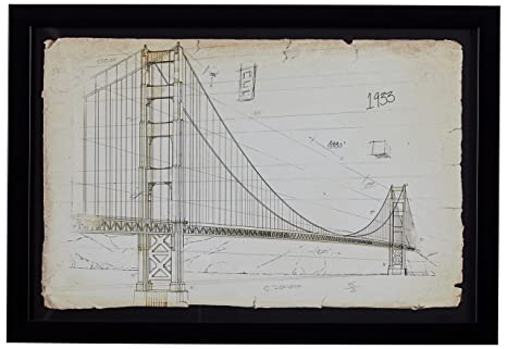 Amazoncom Modern Print Of Golden Gate Bridge Sketch Black Frame
