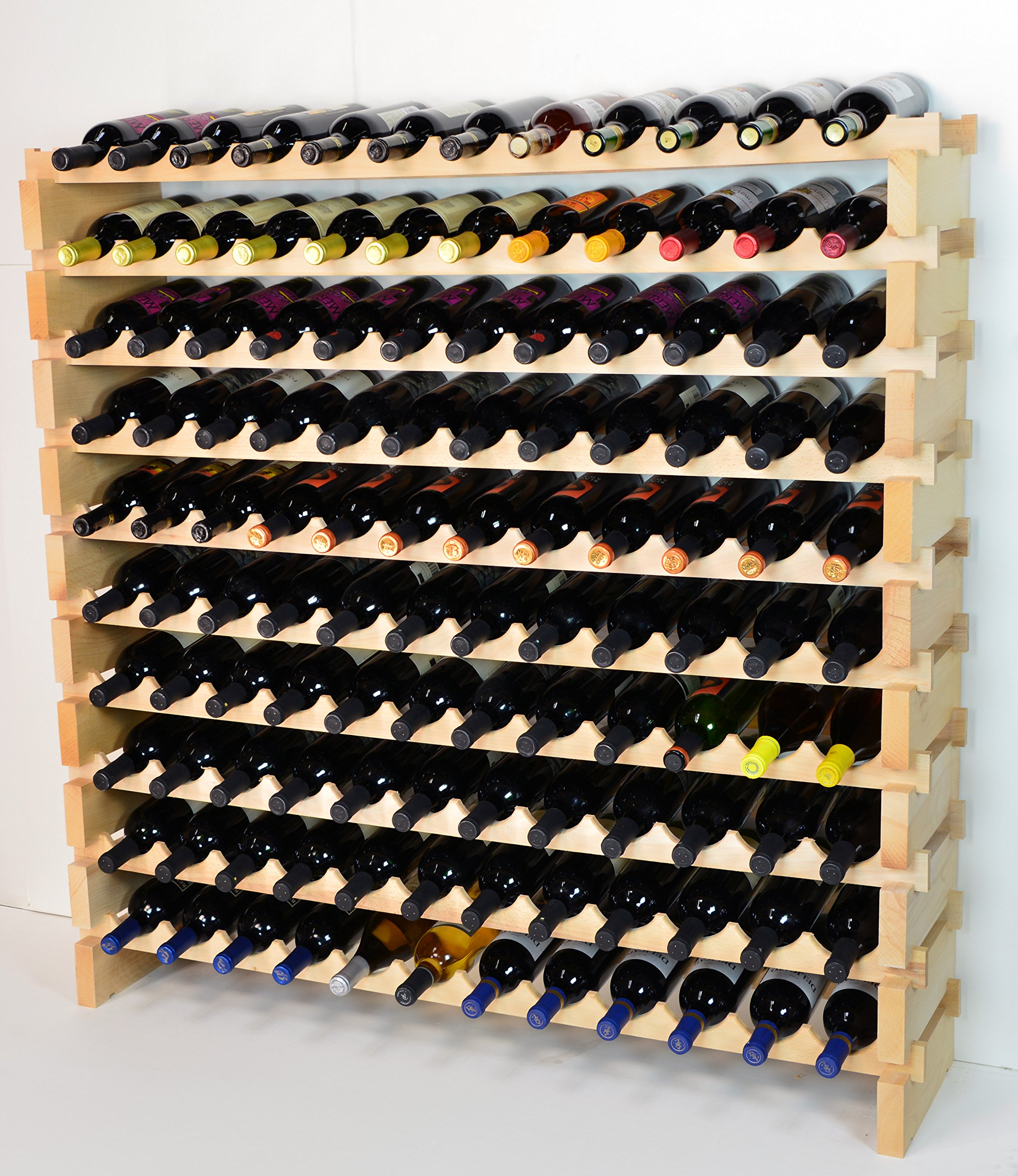 Modular Wine Rack Beechwood 48-144 Bottle Capacity 12 Bottles Across up to 12 Rows Newest Improved Model (120 Bottles - 10 Rows) by sfDisplay.com,LLC. (Image #1)