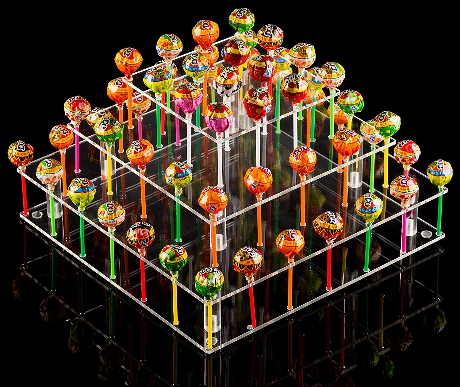 YestBuy Clear Acrylic Cake Pop Stand (Square (9 Rods)) …