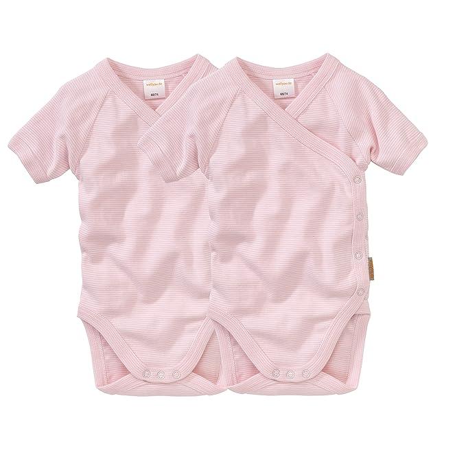 f/ür M/ädchen wellyou Baby-Kinder Wickelbody 2er Set rosa-wei/ß Feinripp 100/% Baumwolle