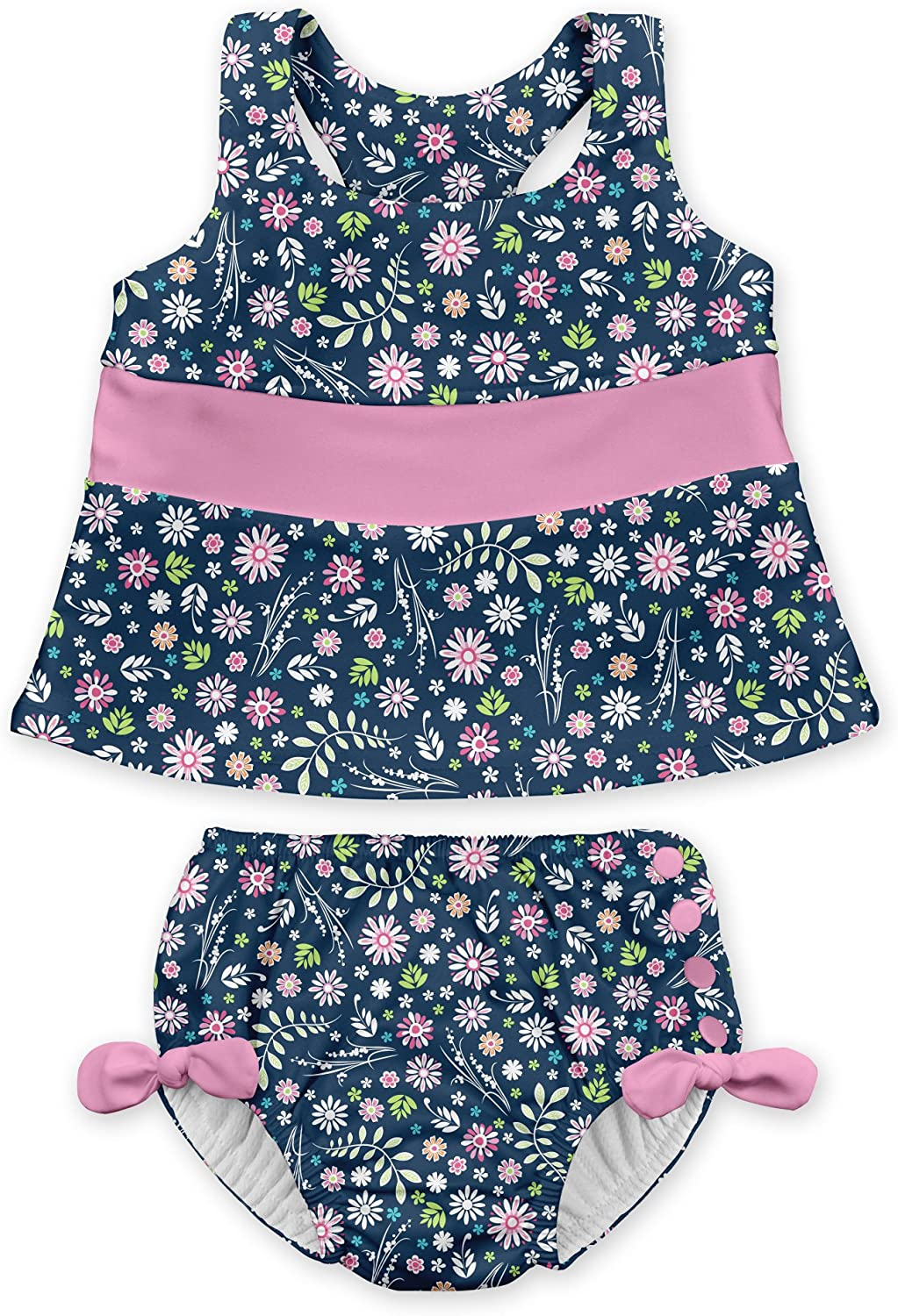 Patented Design i play Lightweight Baby Girl Swimsuit by green sprouts Two Piece Tankini with Snap Reusable Swim Diaper