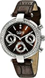 Burgi Women's BUR129 Diamond & Crystal Accented Multifunction Leather Strap Watch