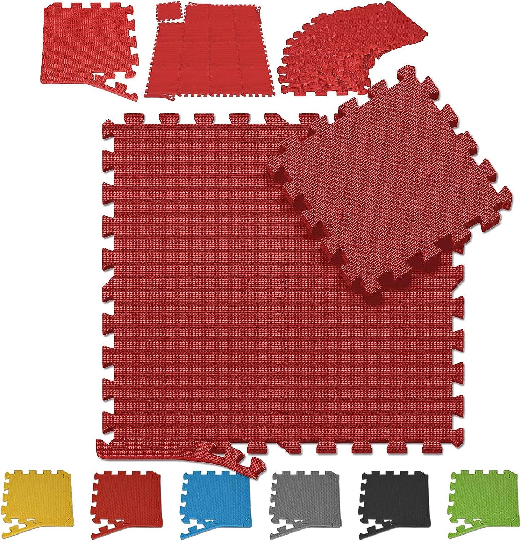 Bodenmatte Eva-Schaum 4 ST/ÜCK 60 x 60cm Schwarz Schutzmatten Puzzlematten Bodenschutzmatten Sportmatten Unterlegmatten Fitnessmatten f/ür Sport Fitnessraum wasserdichte K/älte