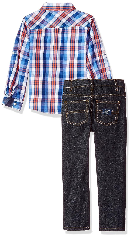 T-Shirt and Pant Set P50693M1 Boys Little Long Sleeve Polo Assn U.S