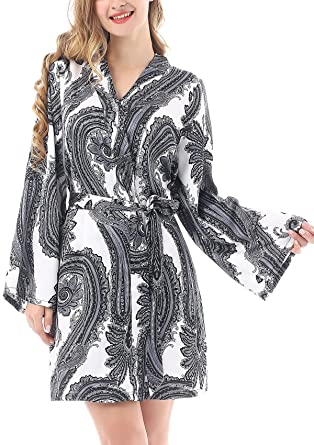 Yulee Womens Floral Satin Kimono Robe Short Bathrobe Comfort Sleepwear
