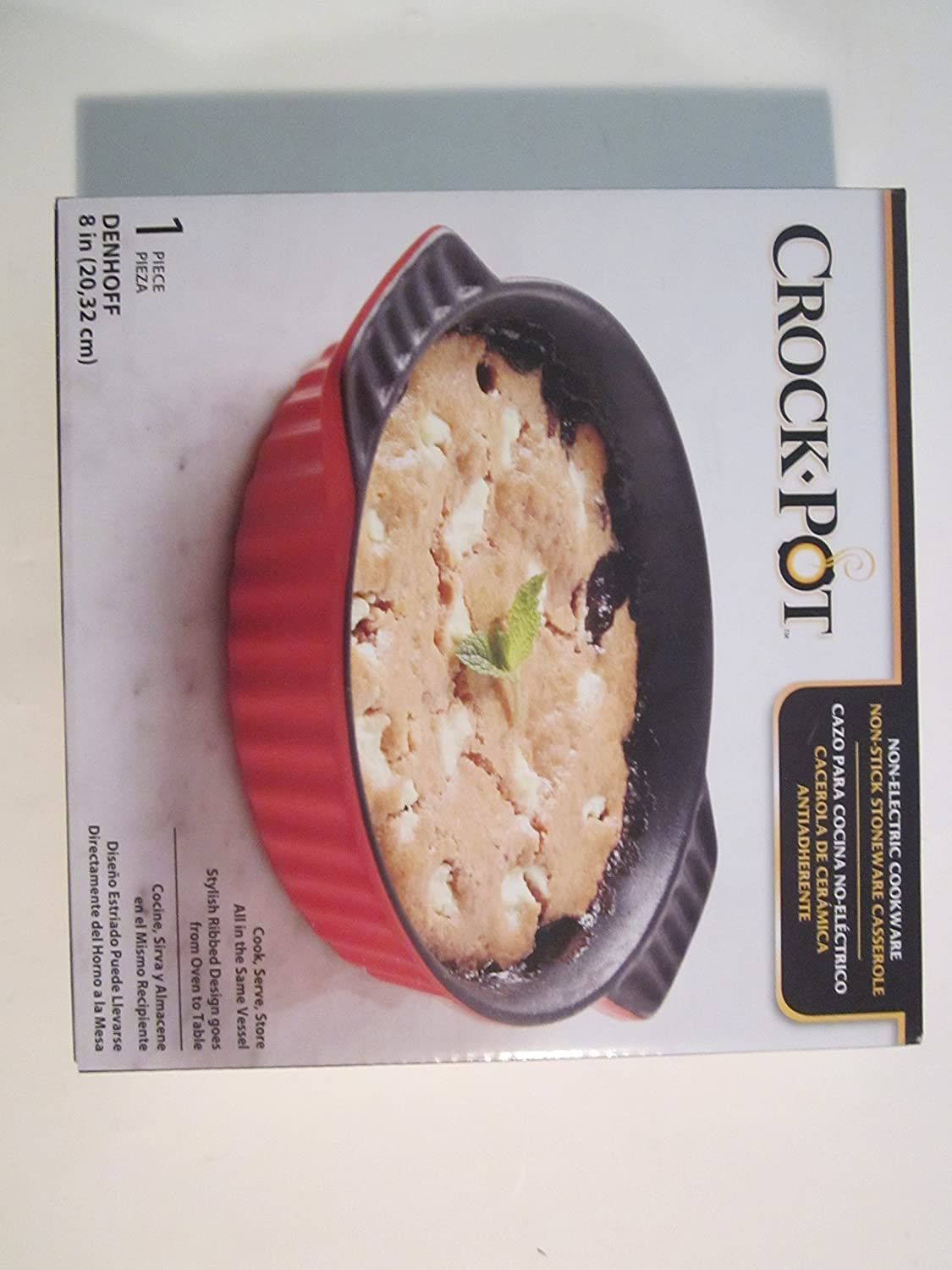 Amazon.com: Crock Pot Non-Electric Cookware Non-Stick Stoneware Casserole Round: Kitchen & Dining