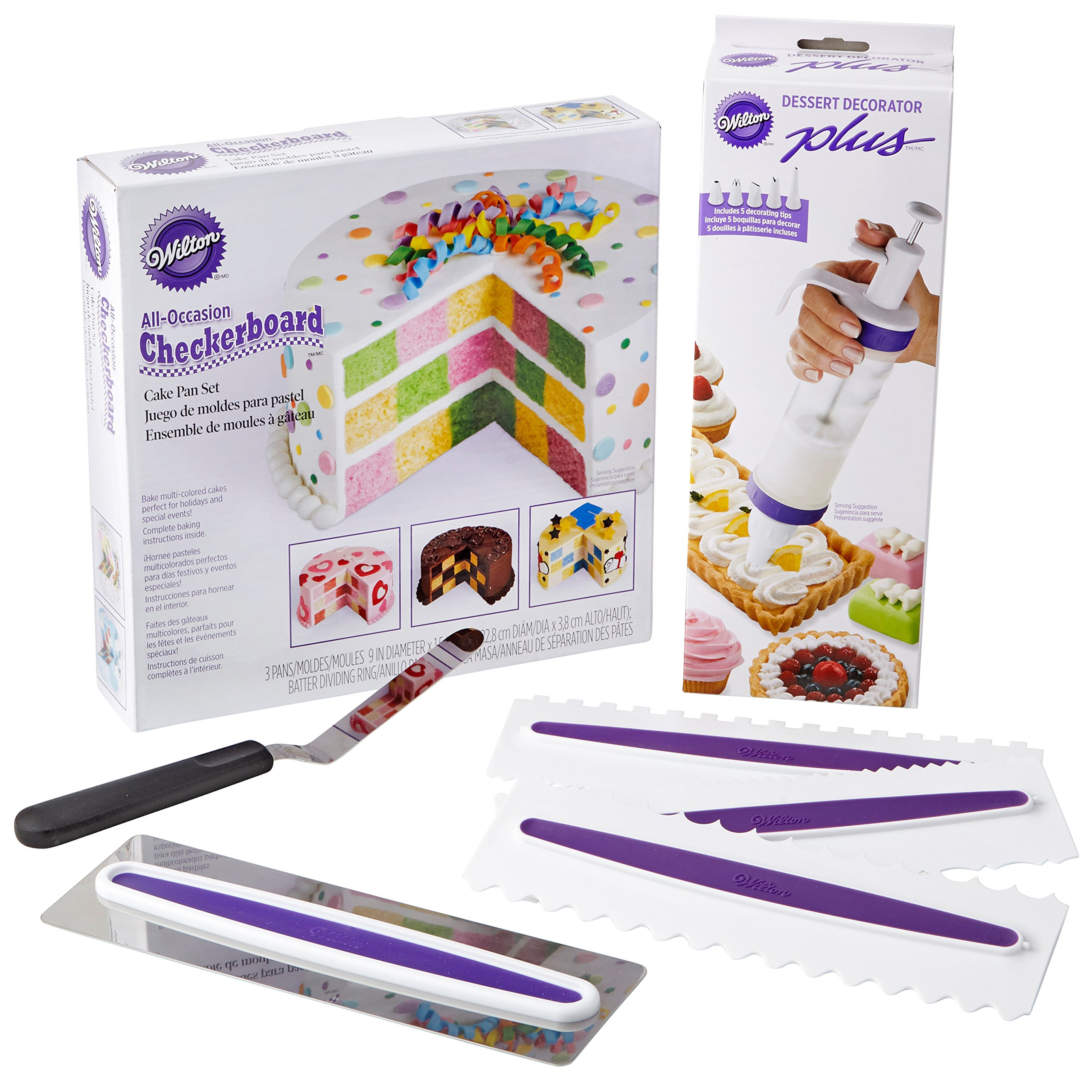 Wilton How to Make a Checkerboard Cake Decorating Set, 7-Piece - with Round Cake Pans, Decorating Tool, Icing  Smoother, 3 Icing Combs and Spatula by Wilton