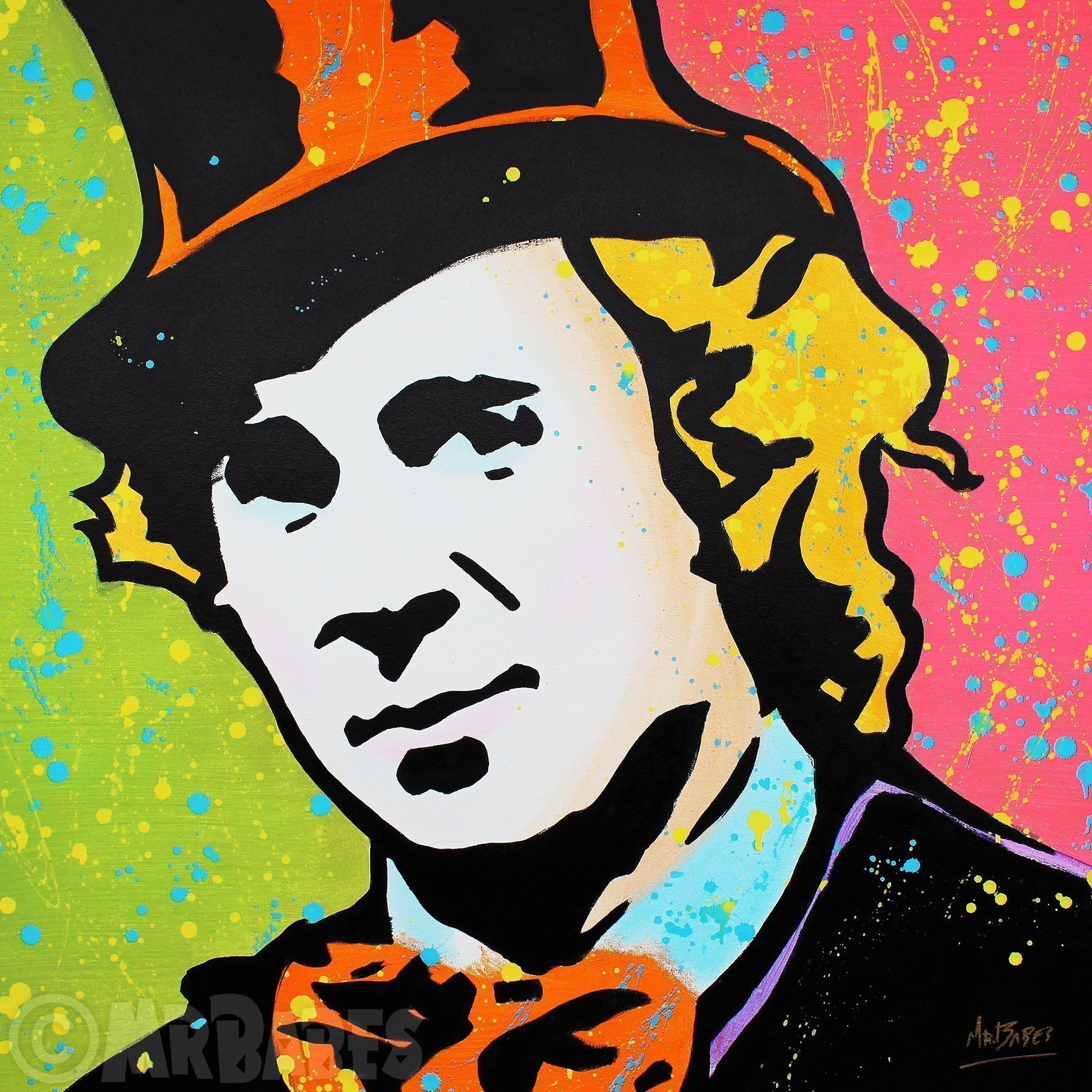 MR.BABES - ''Willy Wonka (Gene Wilder)'' - Original Pop Art Painting - Movie Portrait
