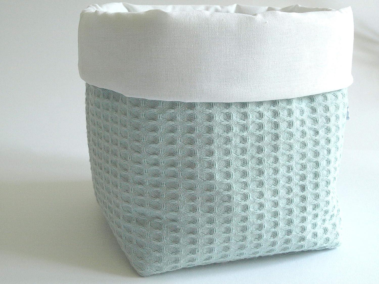 Waffelpique dusty mint//weiss Utensilo 14cm