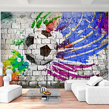 Fototapete Fussball 352 x 250 cm Vlies Wand Tapete Wohnzimmer ...