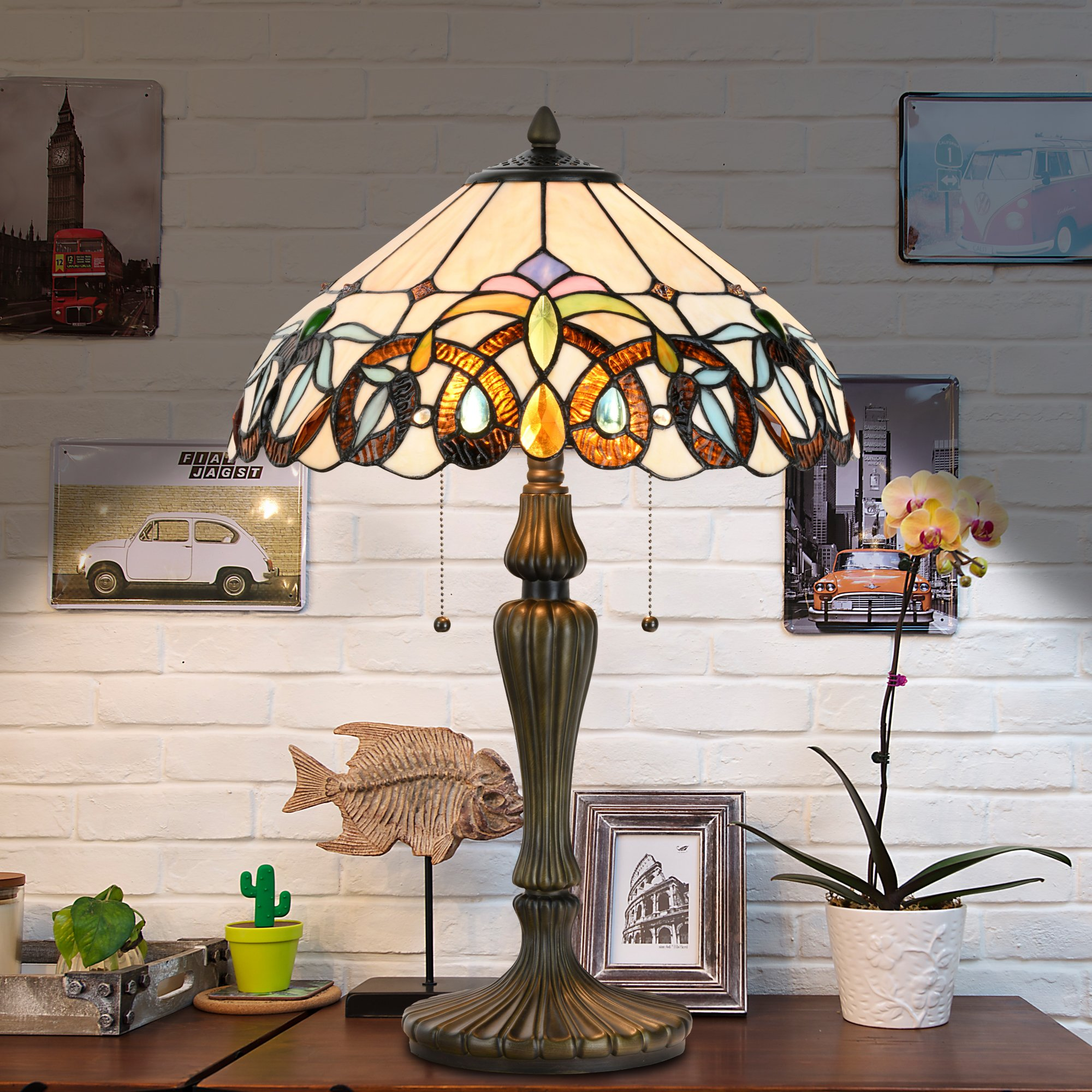 Cloud Mountain Tiffany Style 15.5'' Lampshade Table Lamp Baroque Stained Glass Desk Lamp Home Decor Lighting