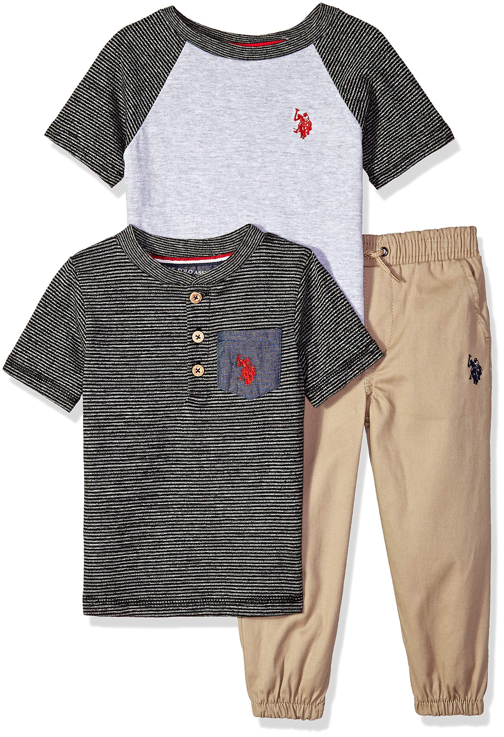 U.S. Polo Assn. Boys' Big T-Shirt and Pant 3 Piece Set, Red Logo with Space Dye Stripes Black, 10