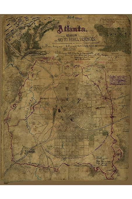 Show Map Of Georgia.Amazon Com History Prints Civil War Map Atlanta Georgia And Its