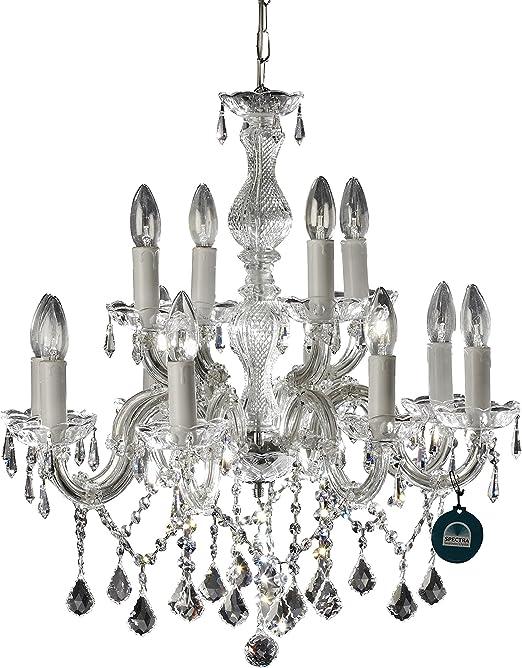 Lustre 12 bras Ø 60cm avec SPECTRA® Cristal de SWAROVSKI, de couleur argent