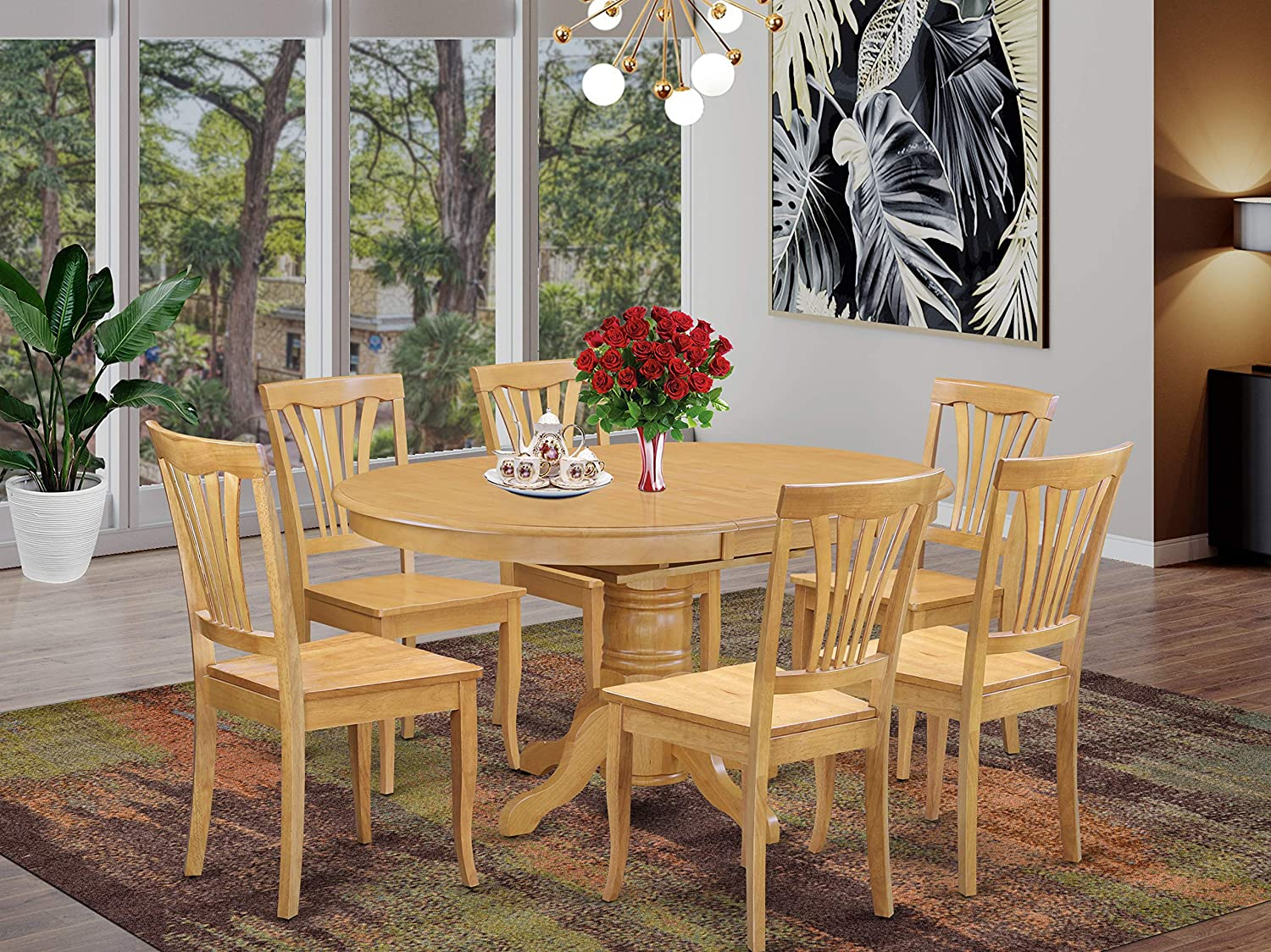 Amazon Com East West Furniture Kitchen Dining Table Set 6 Wonderful Wood Chairs A Lovely Round Dining Table Oak Color Wooden Seat Oak Butterfly Leaf Dining Room Table Furniture Decor