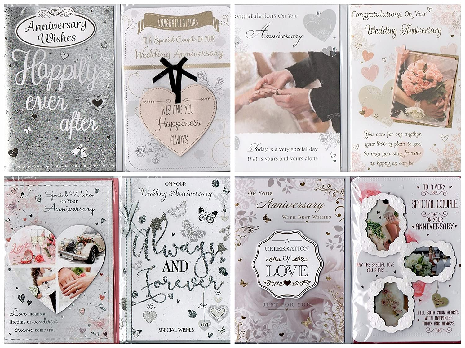 8 Assorted Contemporary Wedding Anniversary Cards & Envelopes. Greetingles Mixed Pack