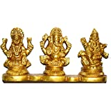 Divya Shakti Brass Goddess Laxmi Ganesh Saraswati Statue Idol Murti (4x2 inch) Diwali Pooja item