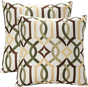 YUKORE Pack of 2 SimpleDecor Jacquard Geometric Links Accent Decorative Throw Pillow Covers Cushion Case Multicolor 18X18 Inch Brown