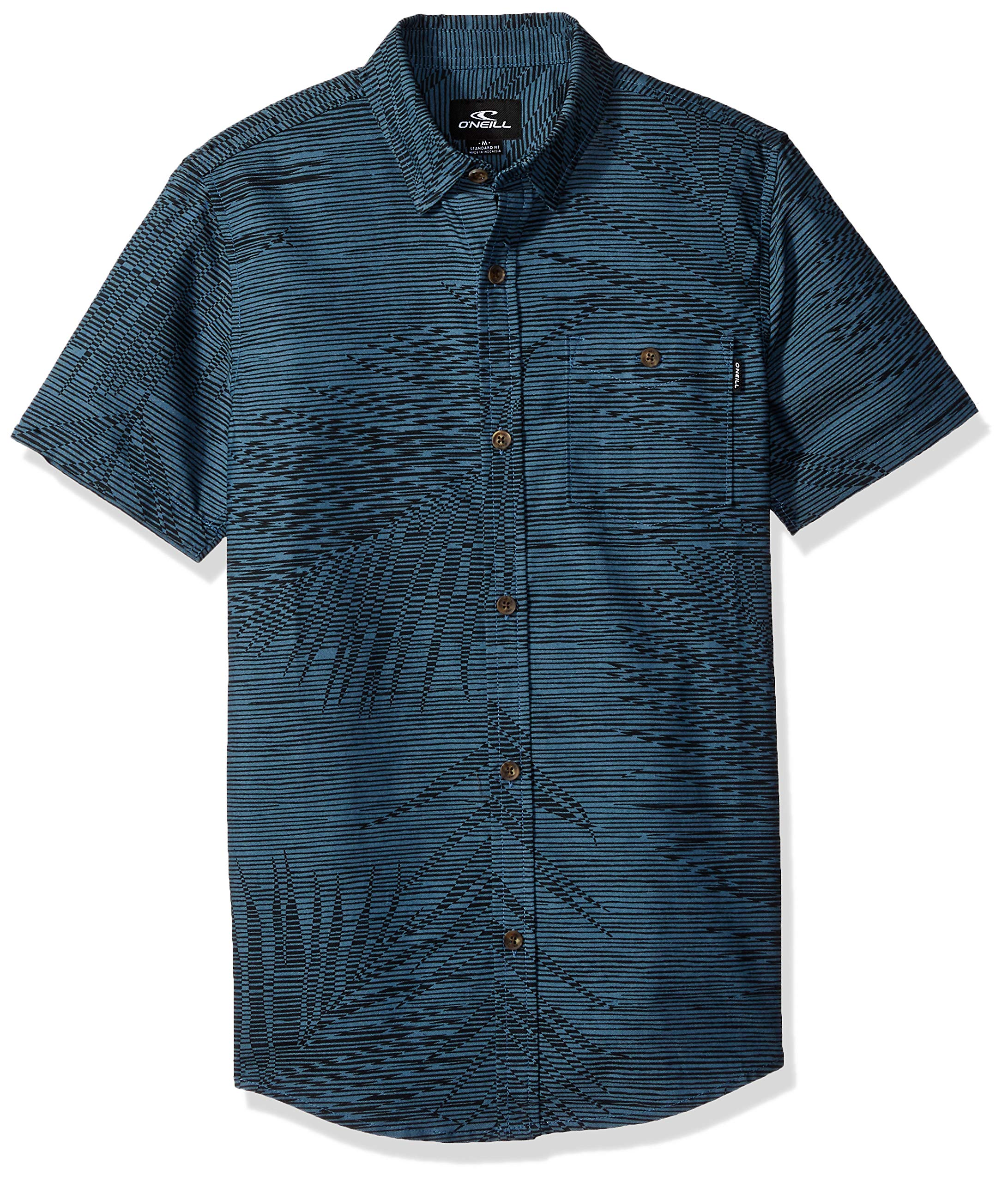 O'Neill Boys' Big Fronzarelli Short Sleeve Woven, Dark Blue, L