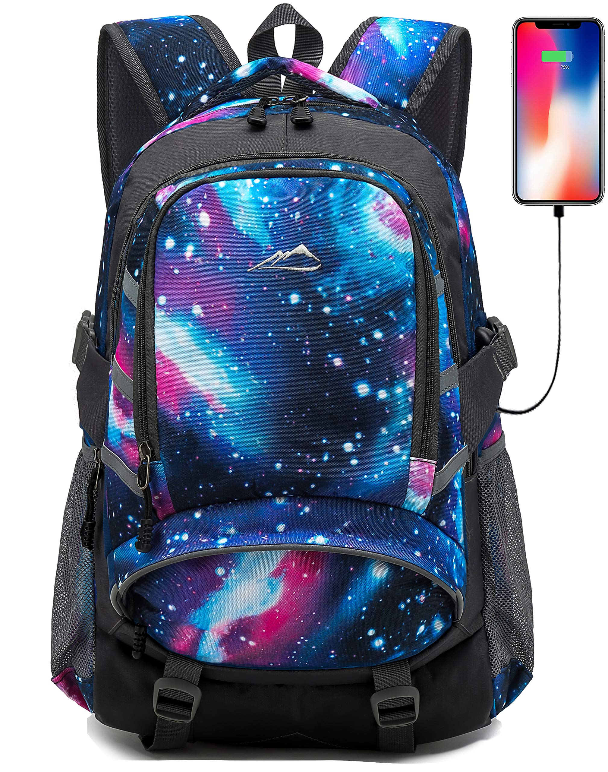 Backpack for School College Student Bookbag Travel Business with USB Charging Port Laptop Compartment Chest Straps Night Light Reflective Anti theft (Galaxy) by ProEtrade