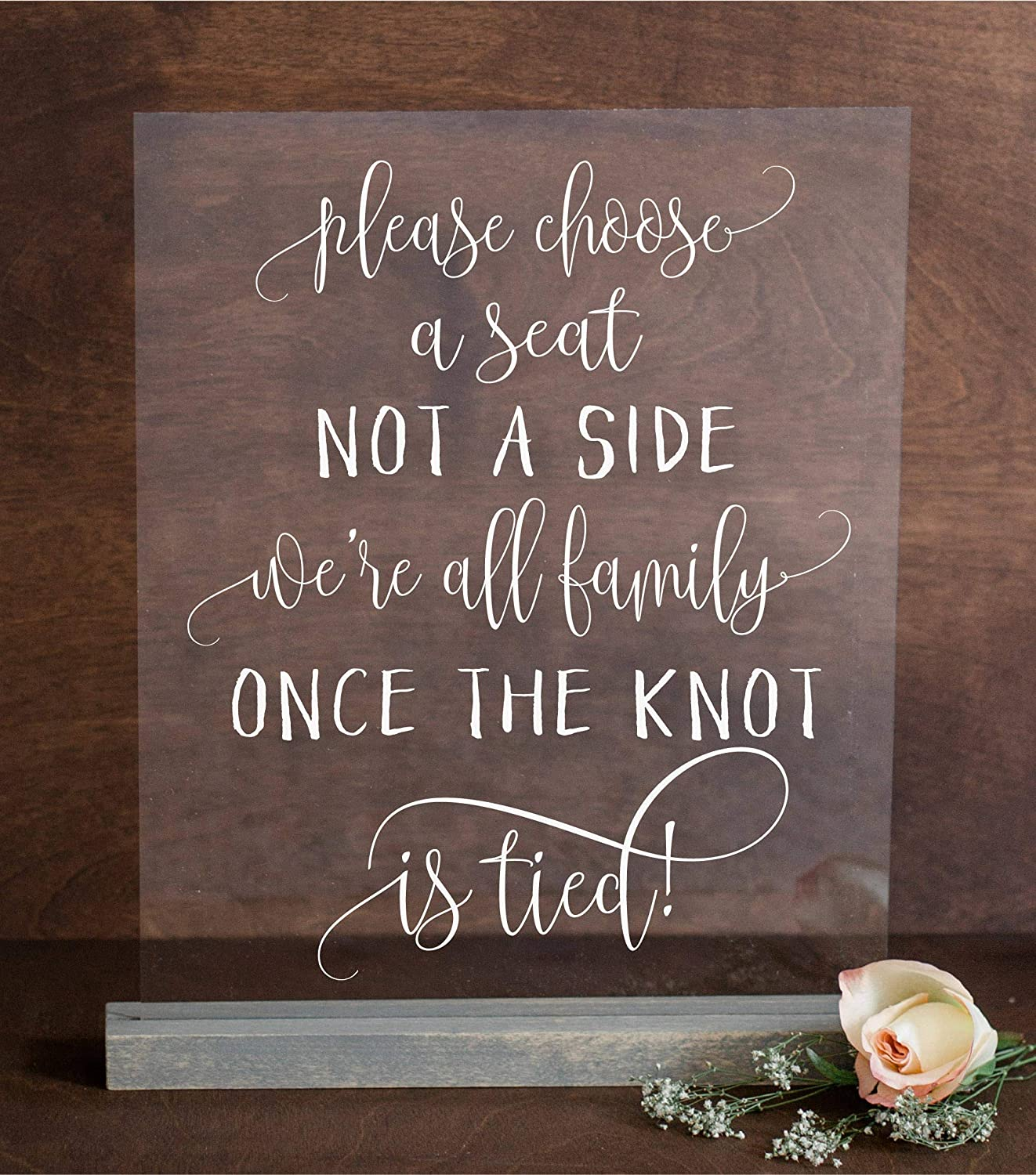 Wedding choose a seat signplease choose a seat not a side were all family once the knot is tied wedding custom sign wedding decor tabletop display on