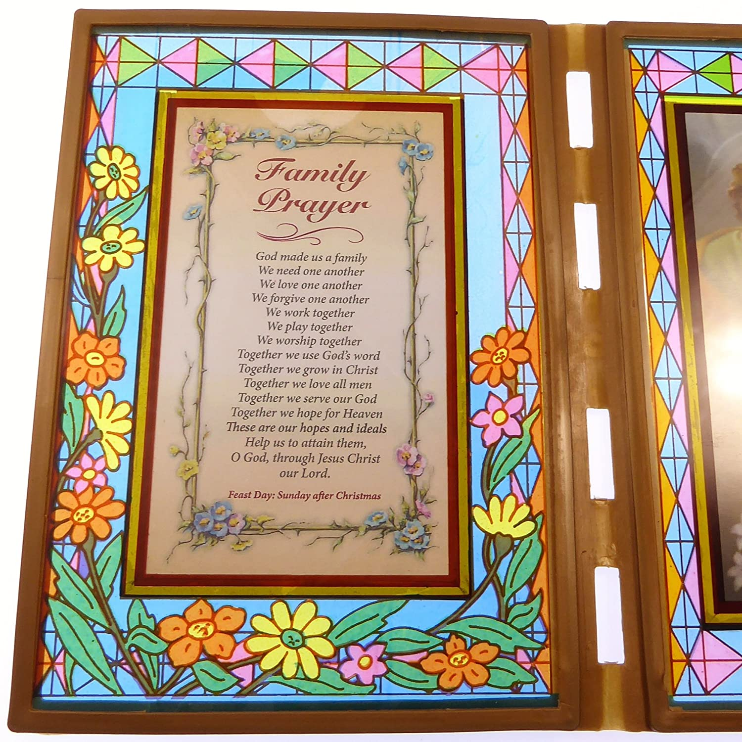 Amazon Com Stained Glass Double Frame With Family Prayer Holy