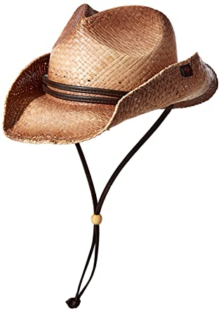 8efd76ed Peter Grimm Straw Round Up Cowboy Hat w/Leather Strap (Tea Stained) at  Amazon Men's Clothing store: