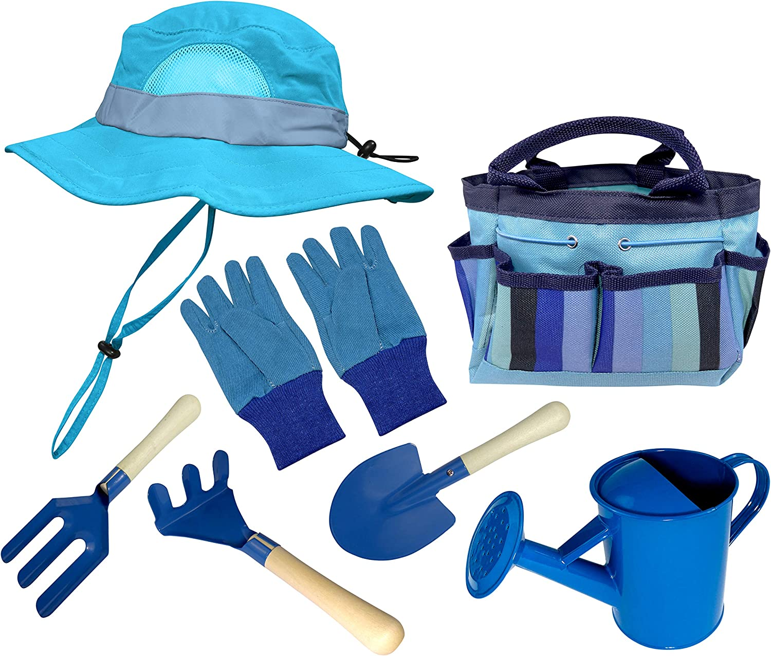 KidsGarden Set &BucketHat Combo:Real Metal Tools & Wooden Handles; Shovel, Rake & Pitch Fork, Pitcher, Gloves & Carrying Bag.Sure-Fit Adjustable Hat with Chin Strap & Ventilation Panels. Blue S/M