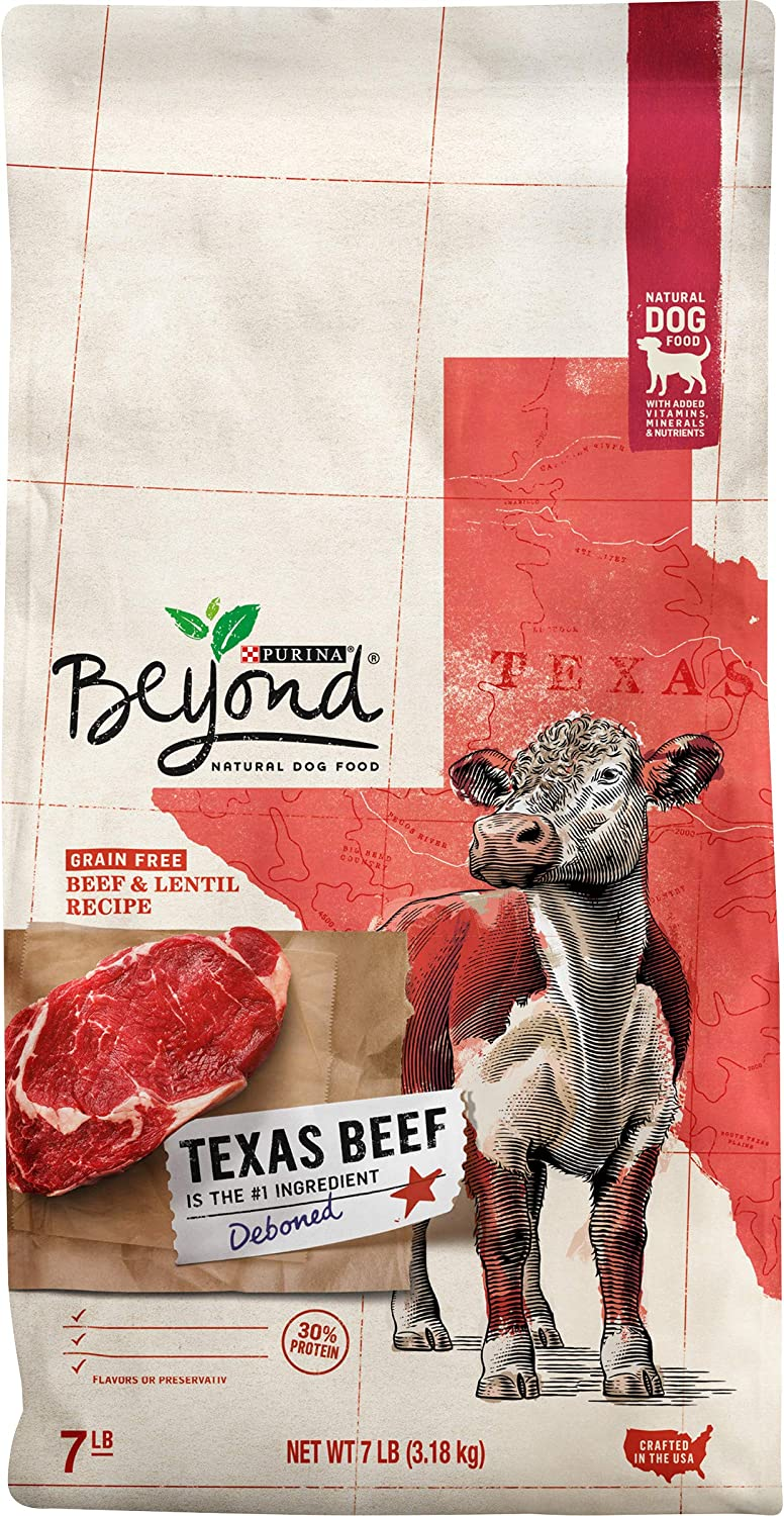 Purina Beyond Grain Free, Natural, High Protein Dry Dog Food, Texas Beef & Lentil Recipe - 7 lb. Bag