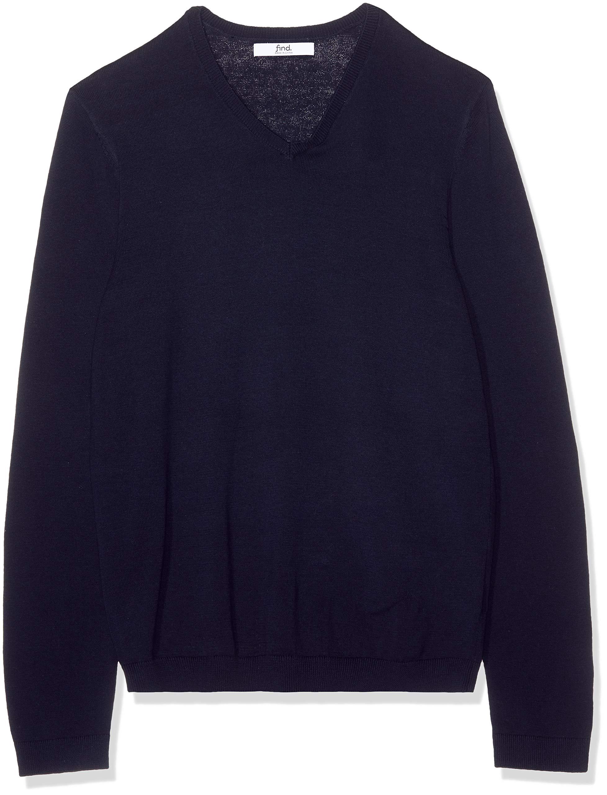find. Men's Cotton V-Neck Sweater, Blue (Navy), Medium
