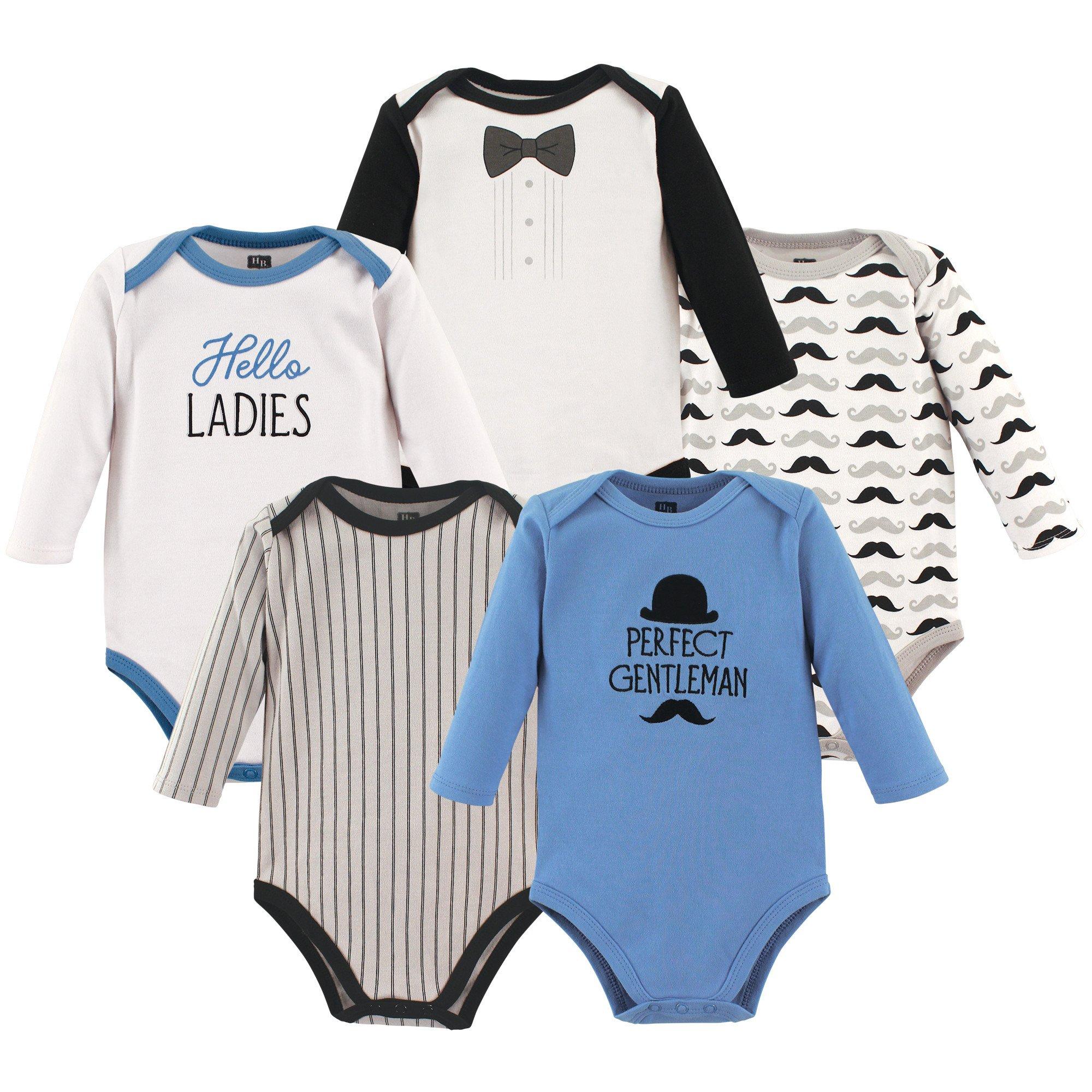 Hudson Baby Baby Long Sleeve Bodysuit 5 Pack, Perfect Gentleman, 9-12 Months