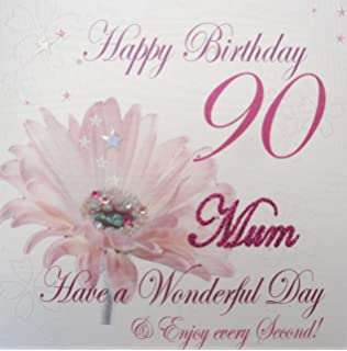 WHITE COTTON CARDS Happy 90 Mum Have A Wonderful Day Handmade 90th Birthday Card