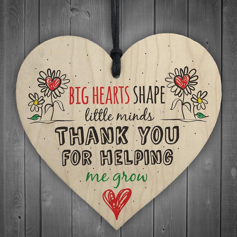 Red Ocean Teacher Leaving Gift Nursery Wooden Hanging Heart Plaque Childminder Preschool Thank You Present
