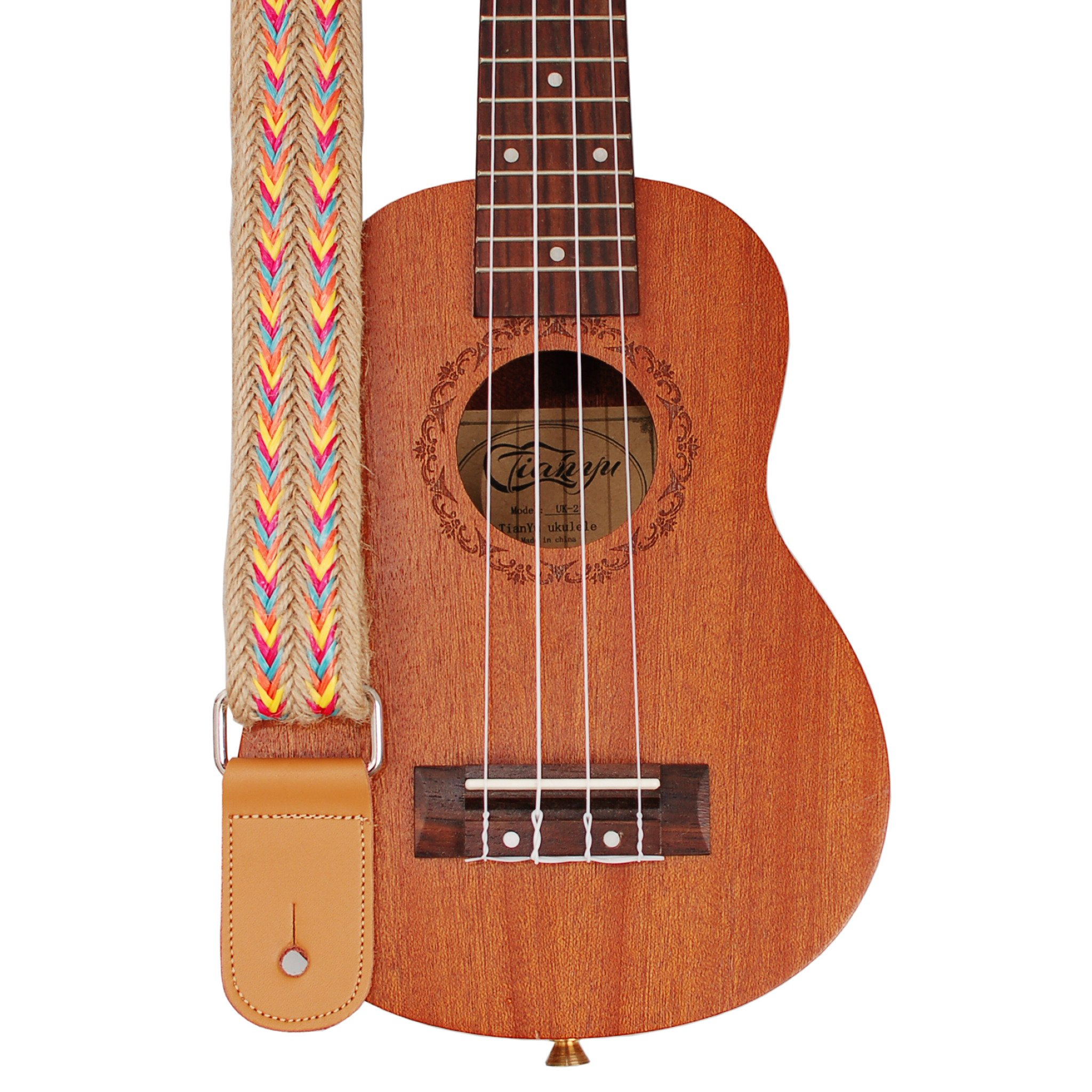 MUSIC FIRST Original Design Hand Made Jute Woven & Genuine Leather Bohemian Style Ukulele Strap Ukulele Shoulder Strap
